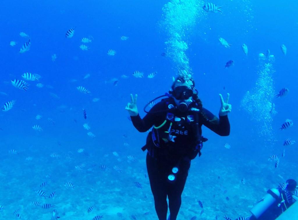 Wasserratte unter Fischen
